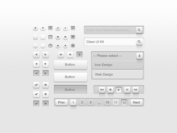 Clean UI Kit Preview1 Free Photoshop Web UI Kits