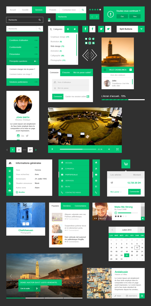 Free Flat UI Kit Free Photoshop Web UI Kits