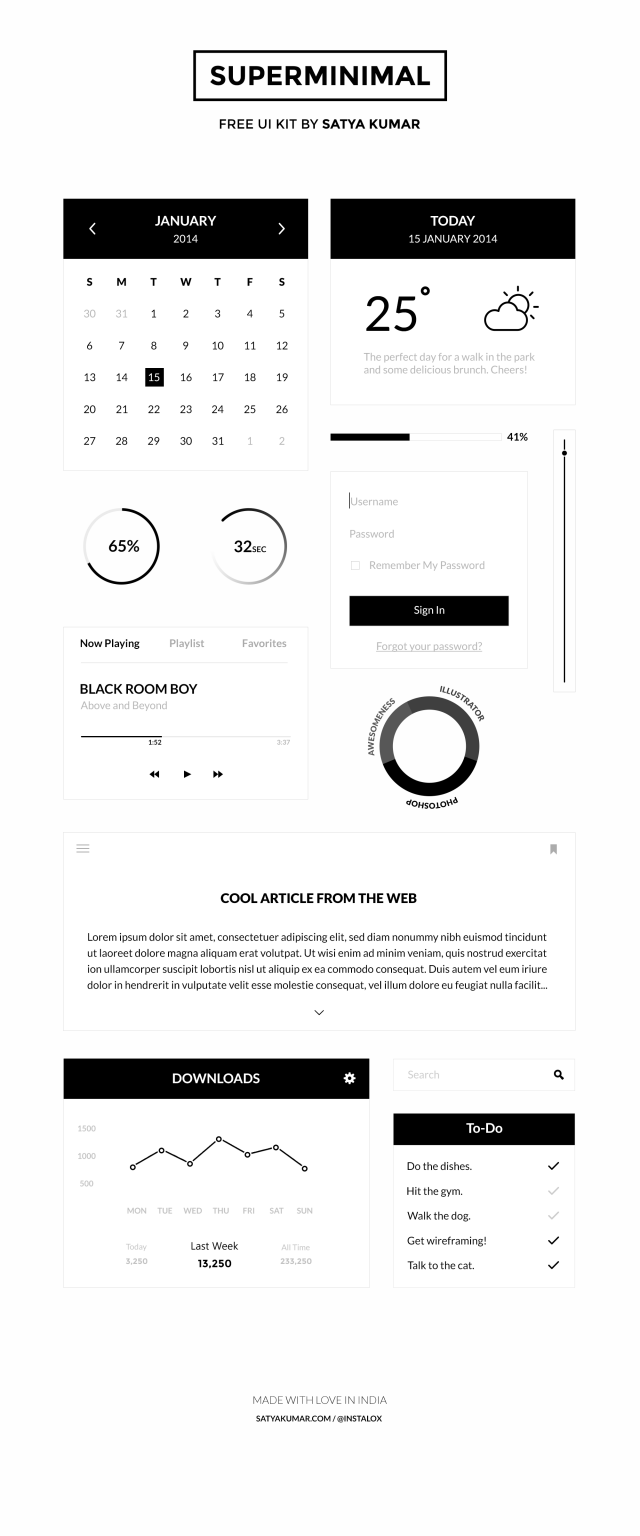 Free PSD Superminimal UI Kit e1399477627240 Free Photoshop Web UI Kits