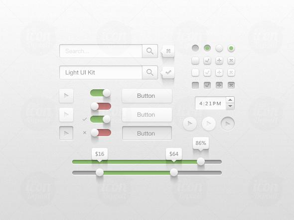 Light UI Kit preview 21 Free Photoshop Web UI Kits