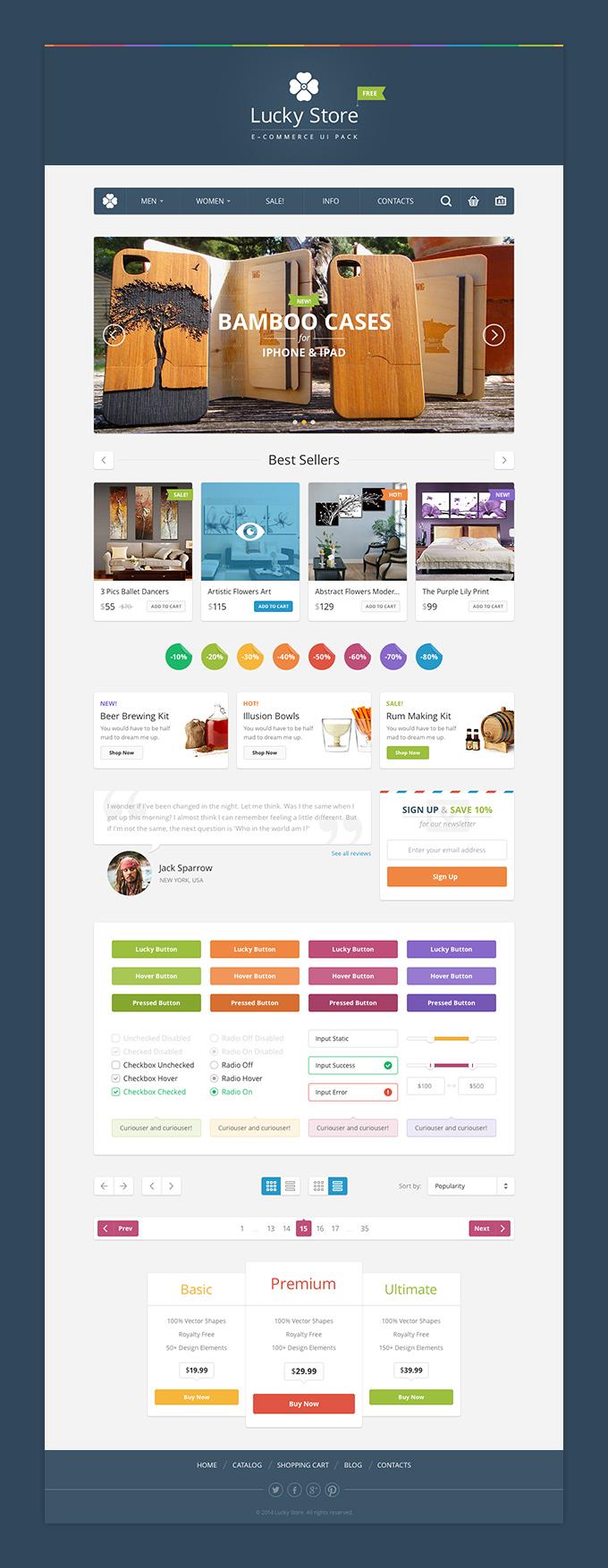 Lucky Store UI Free Photoshop Web UI Kits