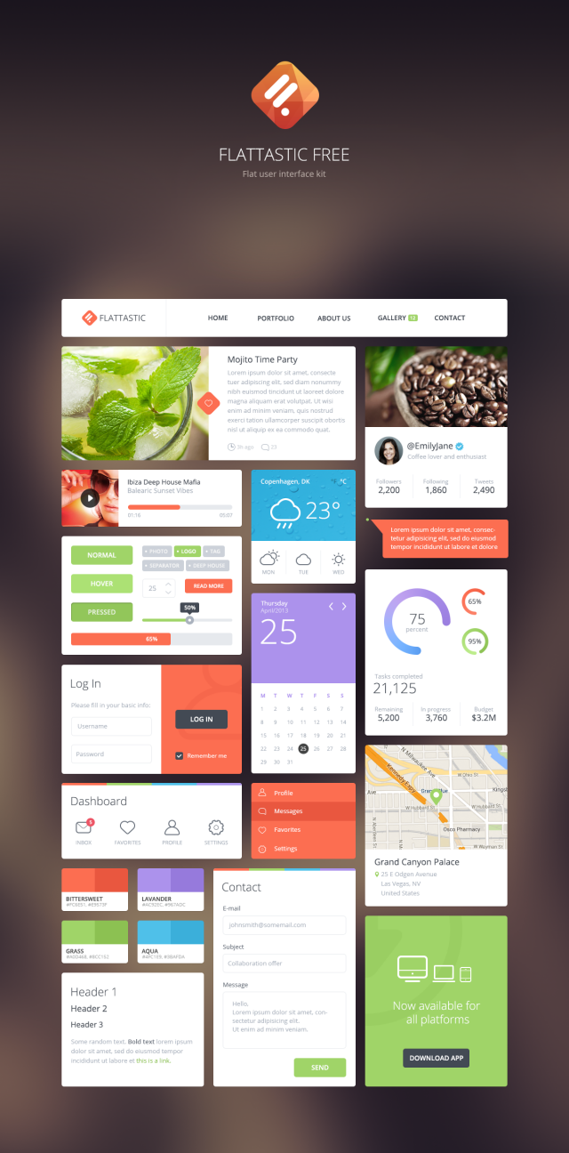 preview flattastic free e1399481160476 Free Photoshop Web UI Kits