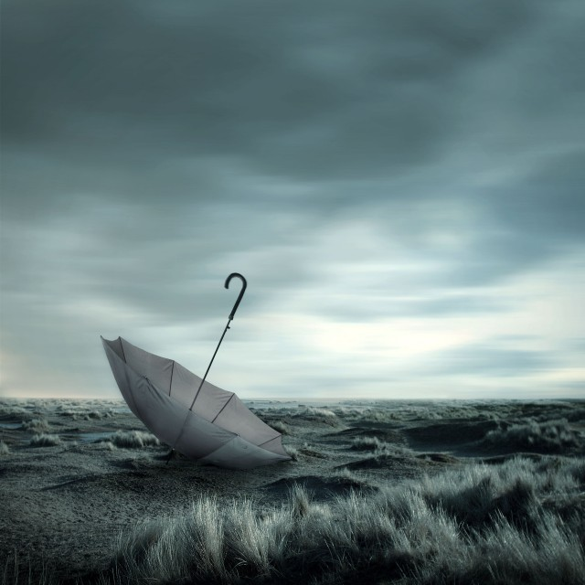 Create a Dark Melancholic Photo Manipulation Scene
