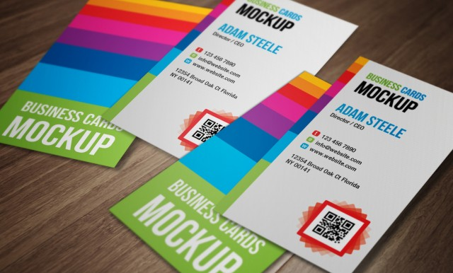 Vertical Business Cards PSD Mockup
