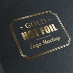 Metallic foil stamp with gold logo